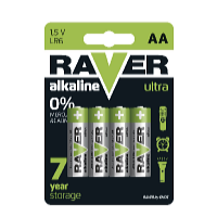 Alkalická baterie Raver 1,5V AA 4ks